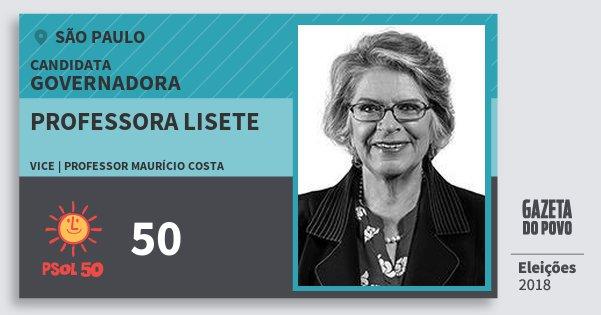 Santinho Professora Lisete 50 (PSOL) Governadora | São Paulo | Eleições 2018