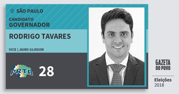 Santinho Rodrigo Tavares 28 (PRTB) Governador | São Paulo | Eleições 2018