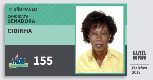 Santinho Cidinha 155 (MDB) Senadora | São Paulo | Eleições 2018