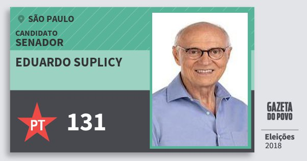 Santinho Eduardo Suplicy 131 (PT) Senador | São Paulo | Eleições 2018