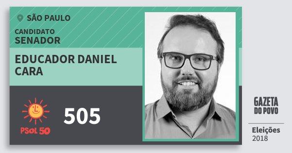 Santinho Educador Daniel Cara 505 (PSOL) Senador | São Paulo | Eleições 2018