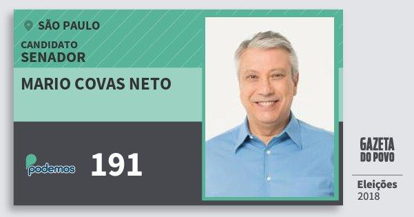 Santinho Mario Covas Neto 191 (PODE) Senador | São Paulo | Eleições 2018