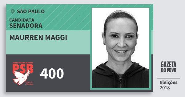 Santinho Maurren Maggi 400 (PSB) Senadora | São Paulo | Eleições 2018