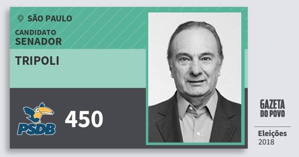 Santinho Tripoli 450 (PSDB) Senador | São Paulo | Eleições 2018