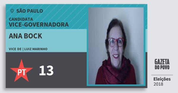Santinho Ana Bock 13 (PT) Vice-Governadora | São Paulo | Eleições 2018