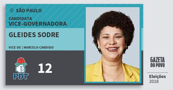 Santinho Gleides Sodre 12 (PDT) Vice-Governadora | São Paulo | Eleições 2018