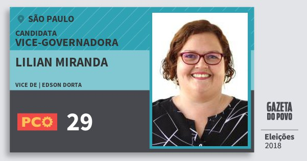 Santinho Lilian Miranda 29 (PCO) Vice-Governadora | São Paulo | Eleições 2018