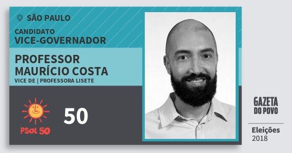 Santinho Professor Maurício Costa 50 (PSOL) Vice-governador | São Paulo | Eleições 2018