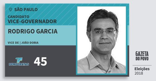 Santinho Rodrigo Garcia 45 (DEM) Vice-governador | São Paulo | Eleições 2018