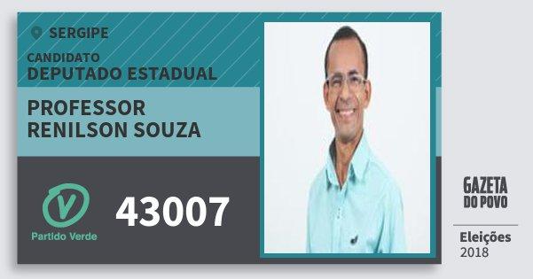 Santinho Professor Renilson Souza 43007 (PV) Deputado Estadual | Sergipe | Eleições 2018