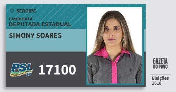 Santinho Simony Soares 17100 (PSL) Deputada Estadual | Sergipe | Eleições 2018