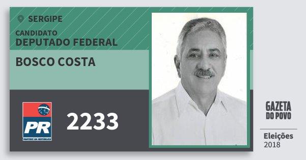 Santinho Bosco Costa 2233 (PR) Deputado Federal | Sergipe | Eleições 2018