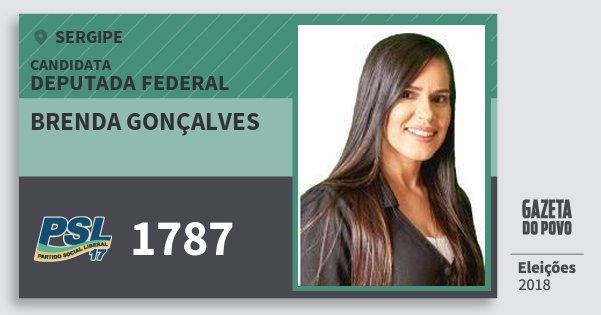Santinho Brenda Gonçalves 1787 (PSL) Deputada Federal   Sergipe   Eleições 2018