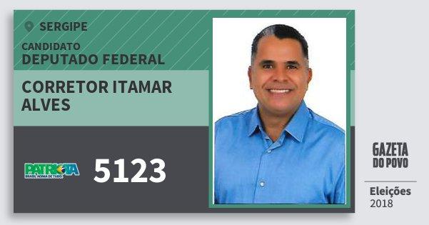 Santinho Corretor Itamar Alves 5123 (PATRI) Deputado Federal | Sergipe | Eleições 2018