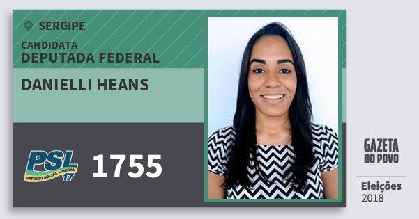 Santinho Danielli Heans 1755 (PSL) Deputada Federal | Sergipe | Eleições 2018