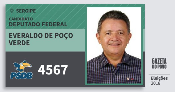 Santinho Everaldo de Poço Verde 4567 (PSDB) Deputado Federal | Sergipe | Eleições 2018