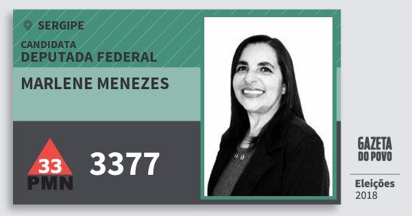 Santinho Marlene Menezes 3377 (PMN) Deputada Federal   Sergipe   Eleições 2018