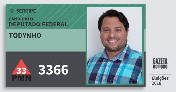 Santinho Todynho 3366 (PMN) Deputado Federal | Sergipe | Eleições 2018