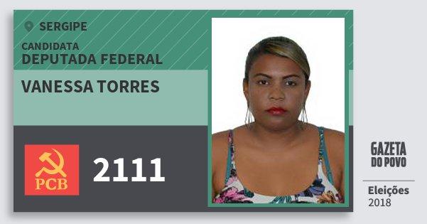 Santinho Vanessa Torres 2111 (PCB) Deputada Federal | Sergipe | Eleições 2018