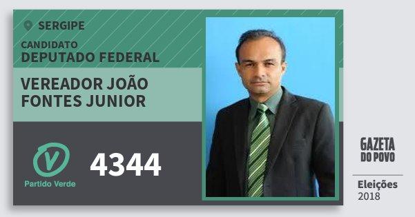 Santinho Vereador João Fontes Junior 4344 (PV) Deputado Federal | Sergipe | Eleições 2018