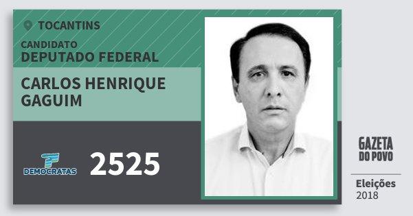 Santinho Carlos Henrique Gaguim 2525 (DEM) Deputado Federal   Tocantins   Eleições 2018