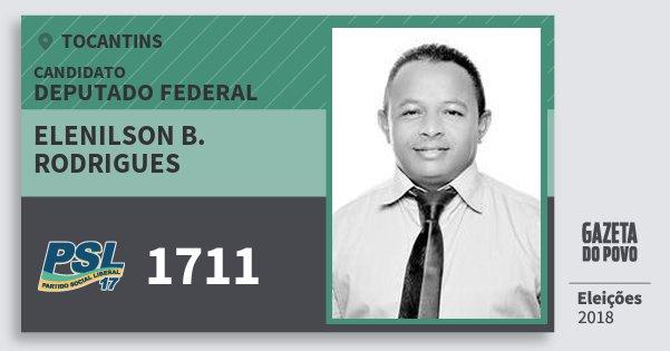 Santinho Elenilson B. Rodrigues 1711 (PSL) Deputado Federal | Tocantins | Eleições 2018