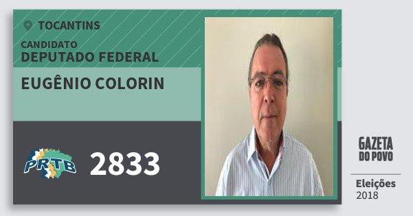 Santinho Eugênio Colorin 2833 (PRTB) Deputado Federal   Tocantins   Eleições 2018