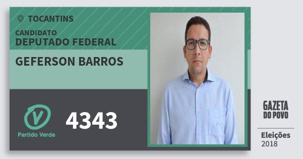 Santinho Geferson Barros 4343 (PV) Deputado Federal | Tocantins | Eleições 2018