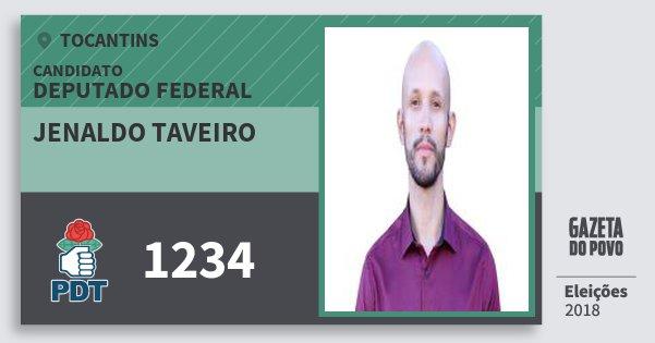 Santinho Jenaldo Taveiro 1234 (PDT) Deputado Federal   Tocantins   Eleições 2018