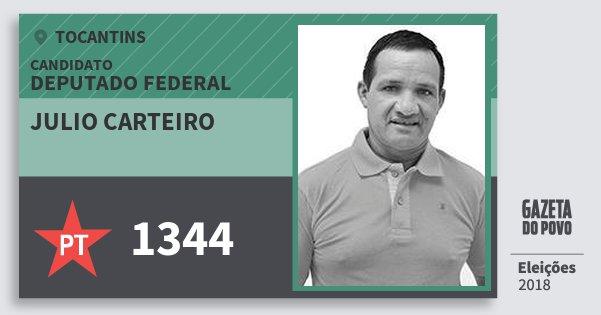 Santinho Julio Carteiro 1344 (PT) Deputado Federal | Tocantins | Eleições 2018