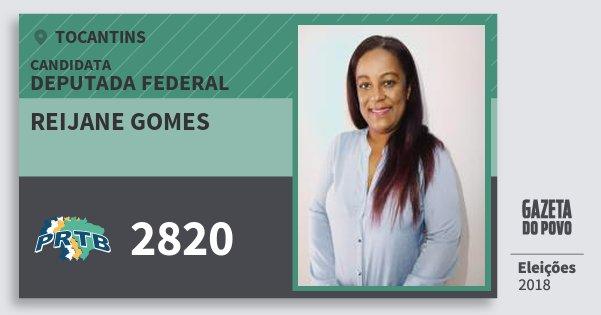 Santinho Reijane Gomes 2820 (PRTB) Deputada Federal | Tocantins | Eleições 2018