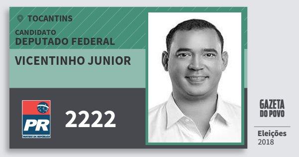 Santinho Vicentinho Junior 2222 (PR) Deputado Federal | Tocantins | Eleições 2018