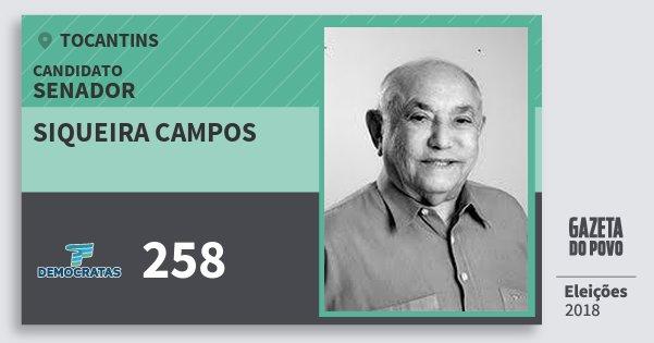 Santinho Siqueira Campos 258 (DEM) Senador | Tocantins | Eleições 2018