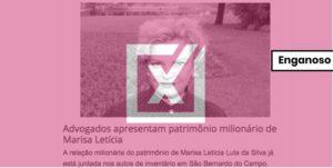 Site atribui somente a Marisa Letícia patrimônio do casal Lula da Silva