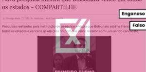 Pesquisa que mostra Bolsonaro vencendo em todos os estados é falsa