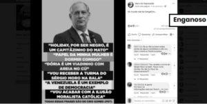 Meme mistura frases ditas por Ciro Gomes com outras sem registro ou fora de contexto