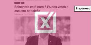 Posts que anunciam vitória de Bolsonaro no 1º turno com 61% são enganosos