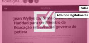 É falsa notícia de que Jean Wyllys foi convidado para ser ministro da Educação de Haddad