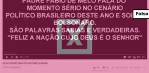 Áudio pró-Bolsonaro é de apóstolo da igreja Bola de Neve, e não do padre Fábio de Melo