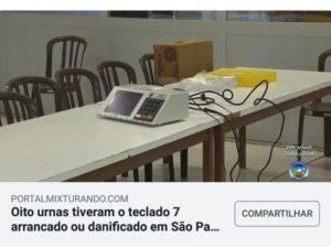 A tecla 7 foi arrancada de urnas eletrônicas em São Paulo?