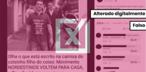É falsa a inscrição xenofóbica sobre nordestinos em camisa de filho de Bolsonaro