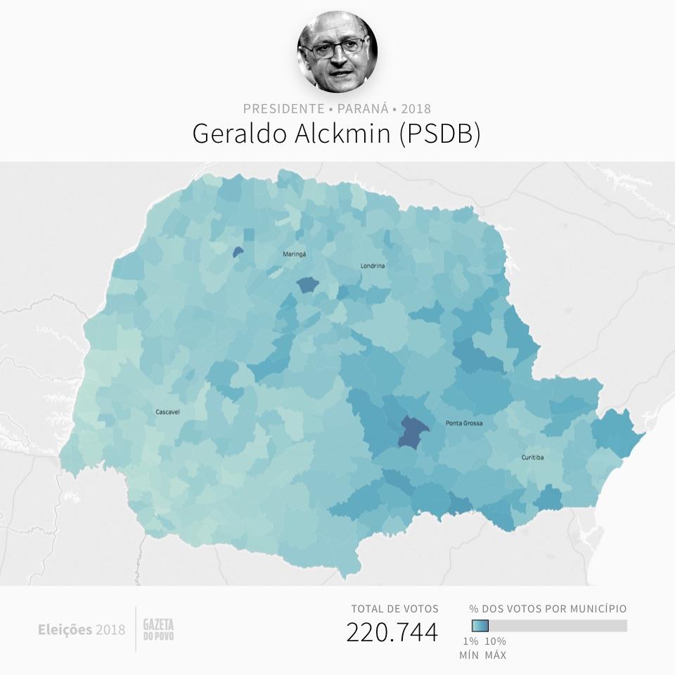Mapa eleitoral: Presidente por cidades | PR | Resultados | Eleições 2018 | Alckmin (PSDB)