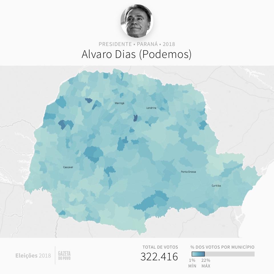 Mapa eleitoral: Presidente por cidades | PR | Resultados | Eleições 2018 | Alvaro (Podemos)