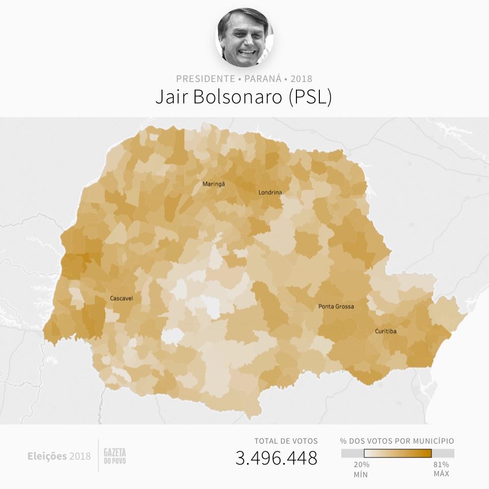Mapa eleitoral: Presidente por cidades | PR | Resultados | Eleições 2018 | Jair Bolsonaro