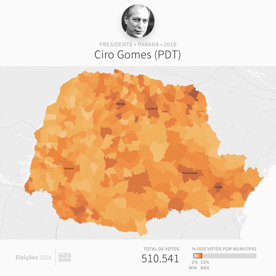 Mapa eleitoral: Presidente por cidades | PR | Resultados | Eleições 2018 | Ciro (PT)