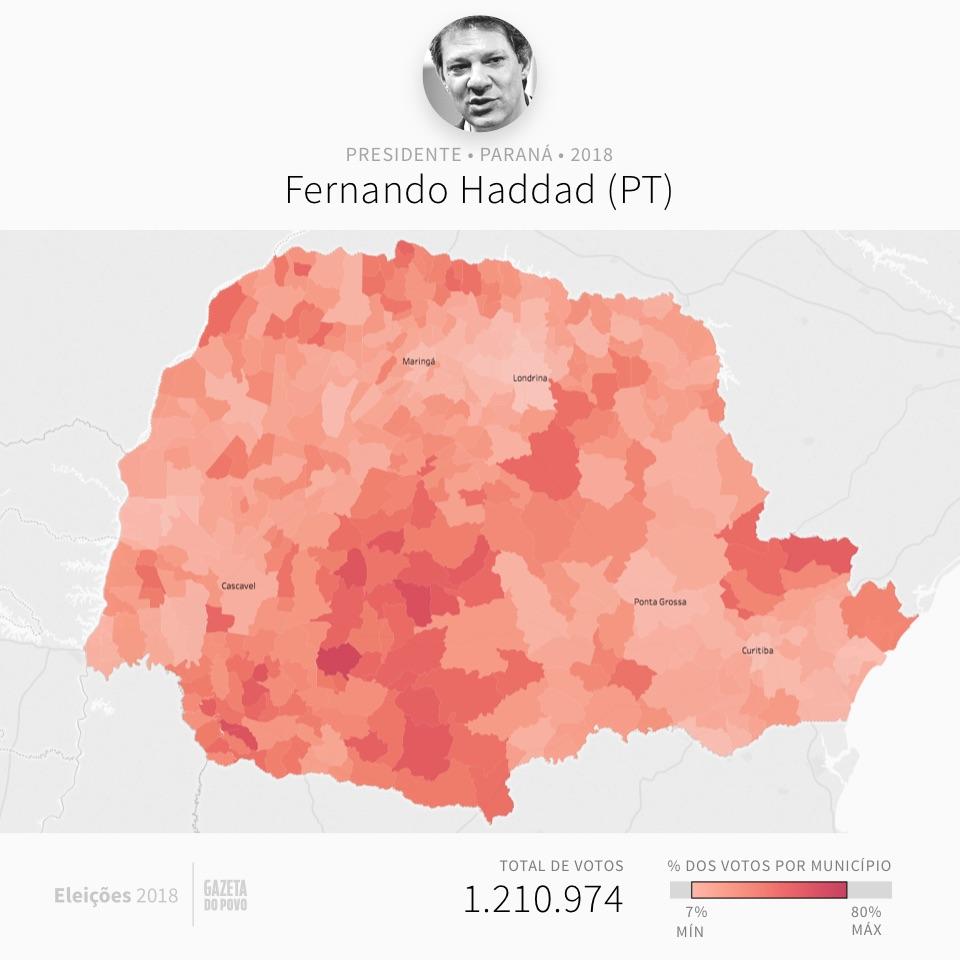 Mapa eleitoral: Presidente por cidades | PR | Resultados | Eleições 2018 | Haddad (PT)