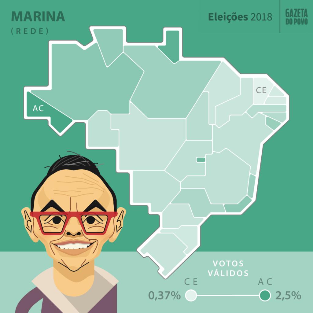 Mapa eleitoral: Presidente por estados | PR | Resultados | Eleições 2018 | Marina Silva (Rede)