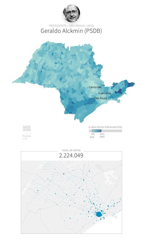 Mapa eleitoral: Presidente por cidades | SP | Resultados | Eleições 2018 | Geraldo Alckmin (PSDB)