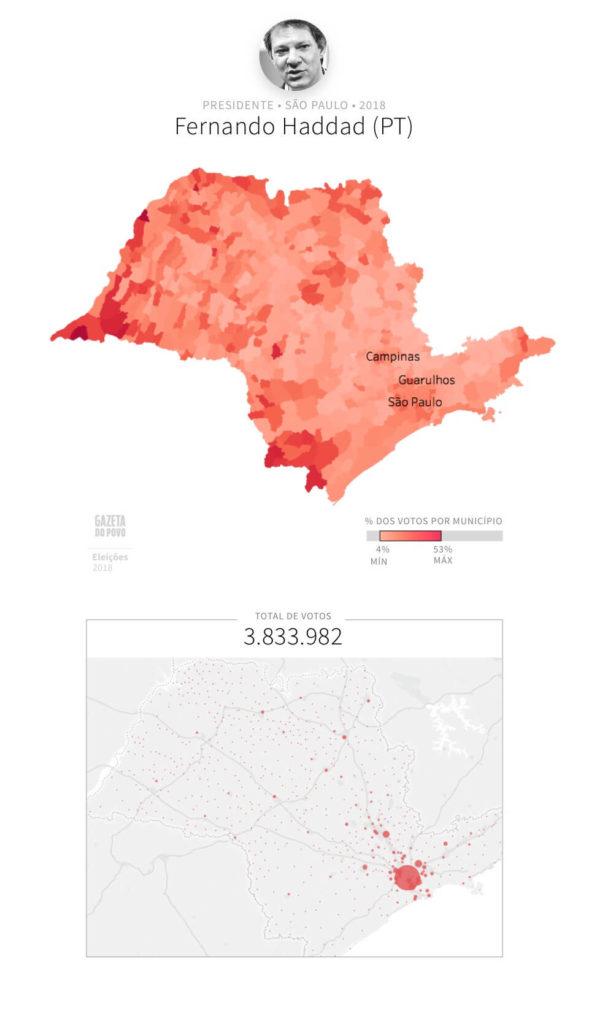 Mapa eleitoral: Presidente por cidades | SP | Resultados | Eleições 2018 | Fernando Haddad (PT)
