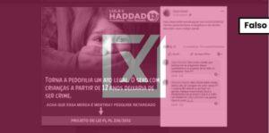 Projeto não torna a pedofilia um ato legal e nem tem participação de Haddad